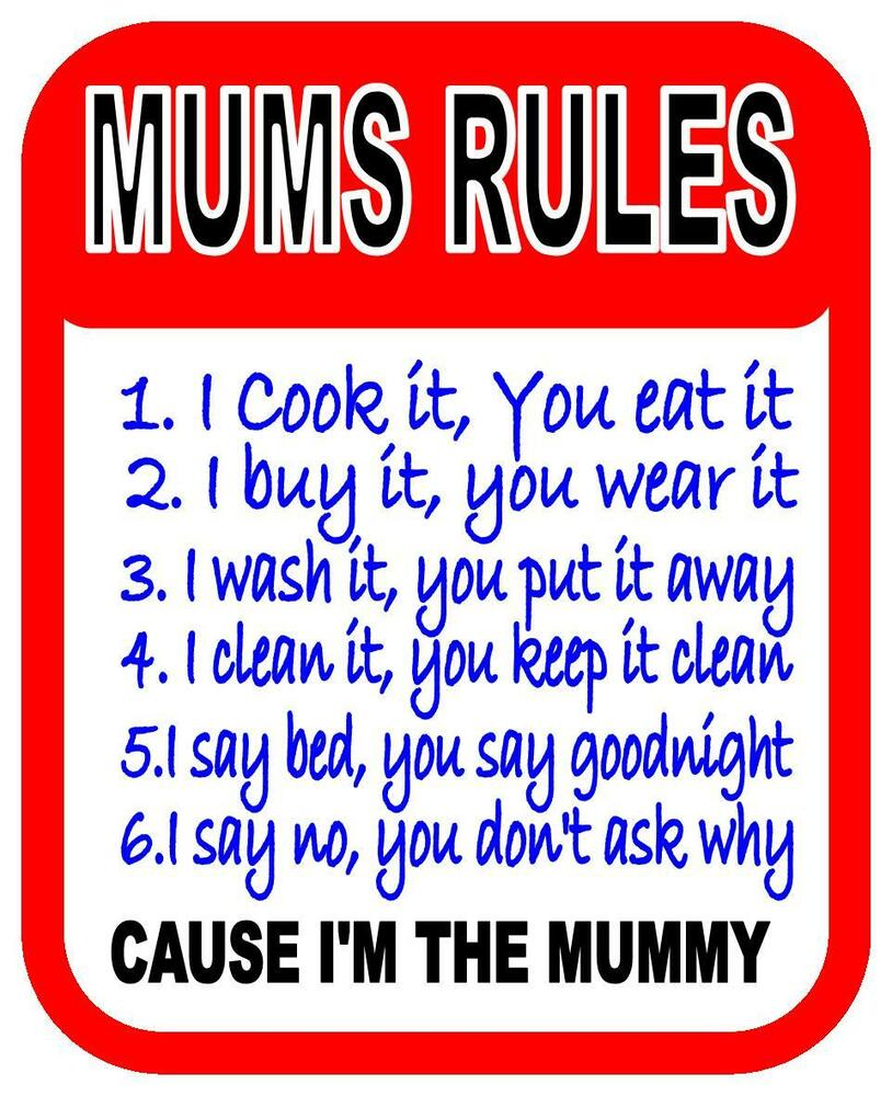 Fun Mums Rules Bedroom Kitchen Office Design Metal Sign
