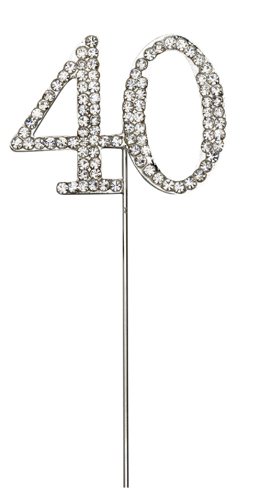 Silver Number 40 Cake Pick Topper Decoration 40th Diamante