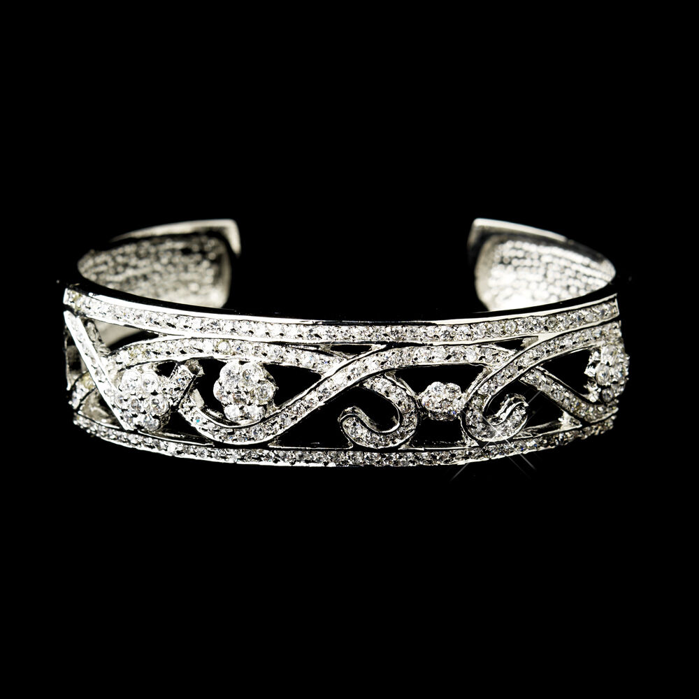 Cuff Bangle Bracelet: BRIDAL BANGLE BRACELET CZ Silver Diamante ANTIQUE SILVER