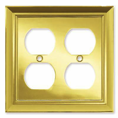 brainerd polished brass double light switch duplex wall plate outlet. Black Bedroom Furniture Sets. Home Design Ideas