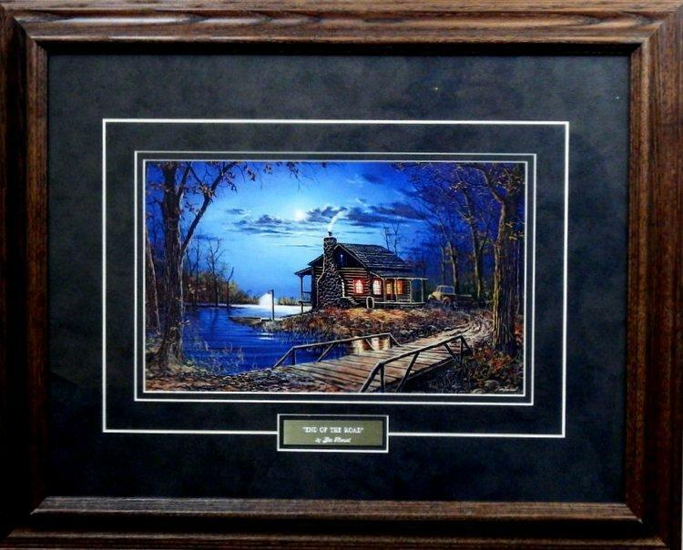 Jim Hansel End Of The Road Cabin Lake Art Print Framed 21