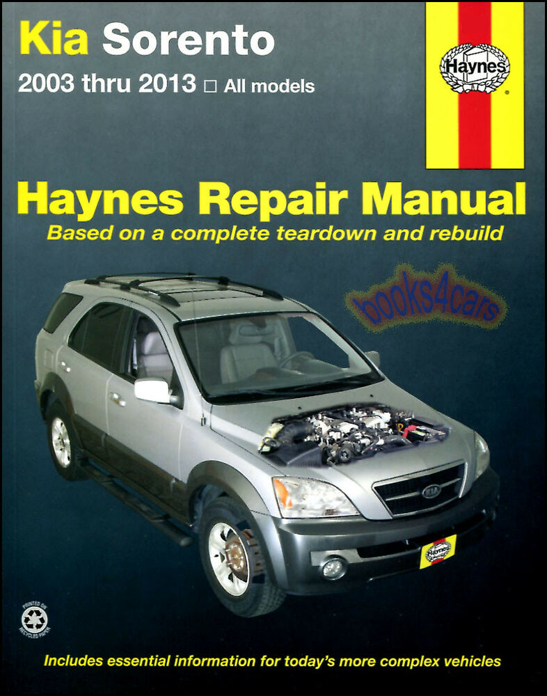 Shop Manual Sorento Service Repair Kia Book Haynes Chilton