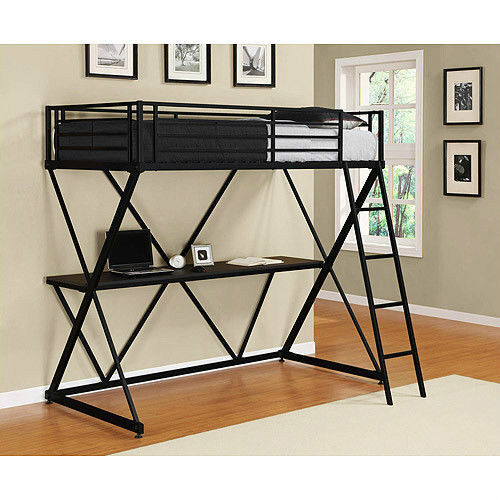 twin over computer workstation loft bunk bed beds desk