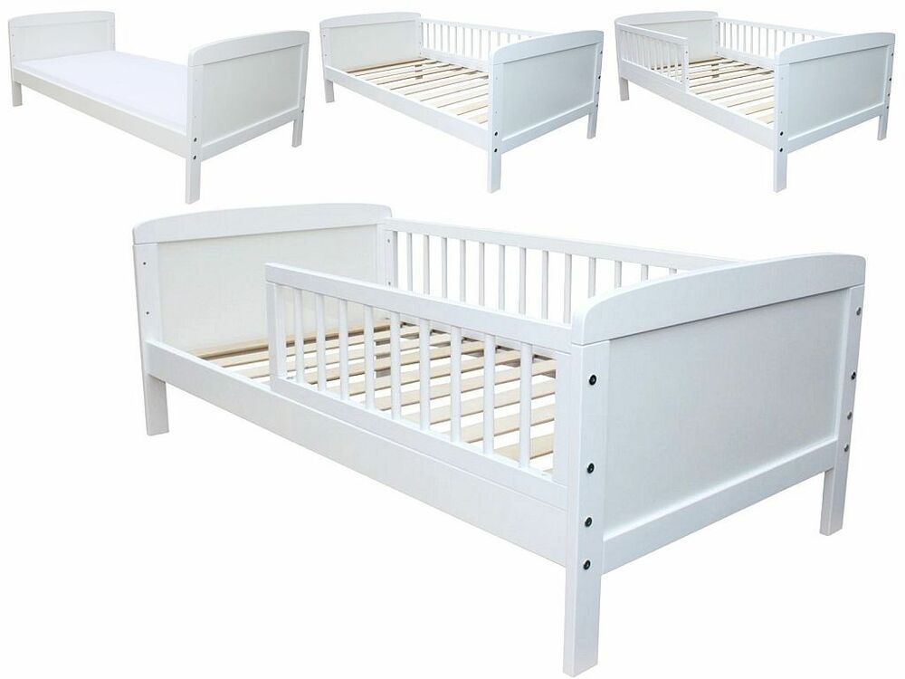 kinderbett juniorbett massiv 140 x 70 weiss ebay. Black Bedroom Furniture Sets. Home Design Ideas