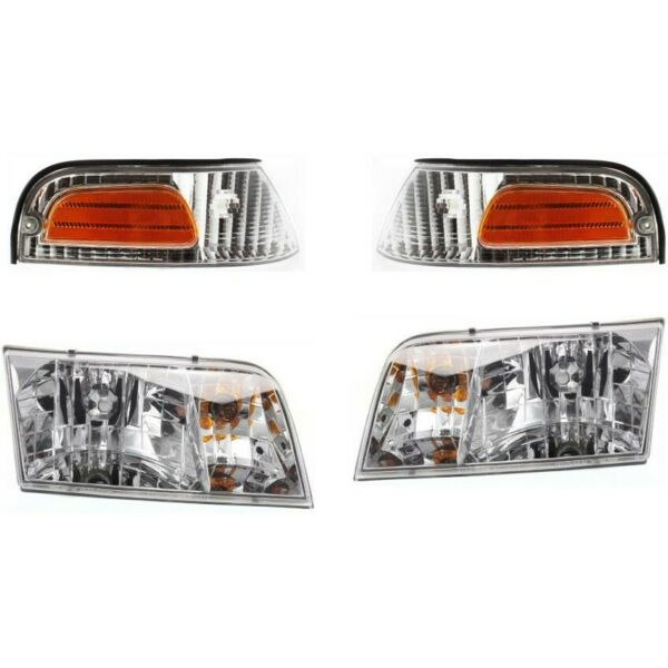 Headlight Kit For 98-2011 Ford Crown Victoria Left and Right 4Pc