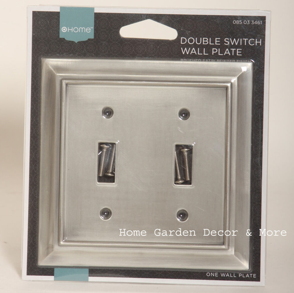 Brushed Satin Pewter Double Light Switch Wallplate Wall