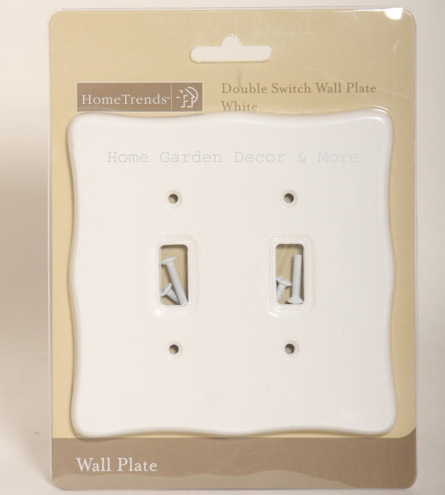 White Plastic Scallop Double Light Switch Wallplate Wall