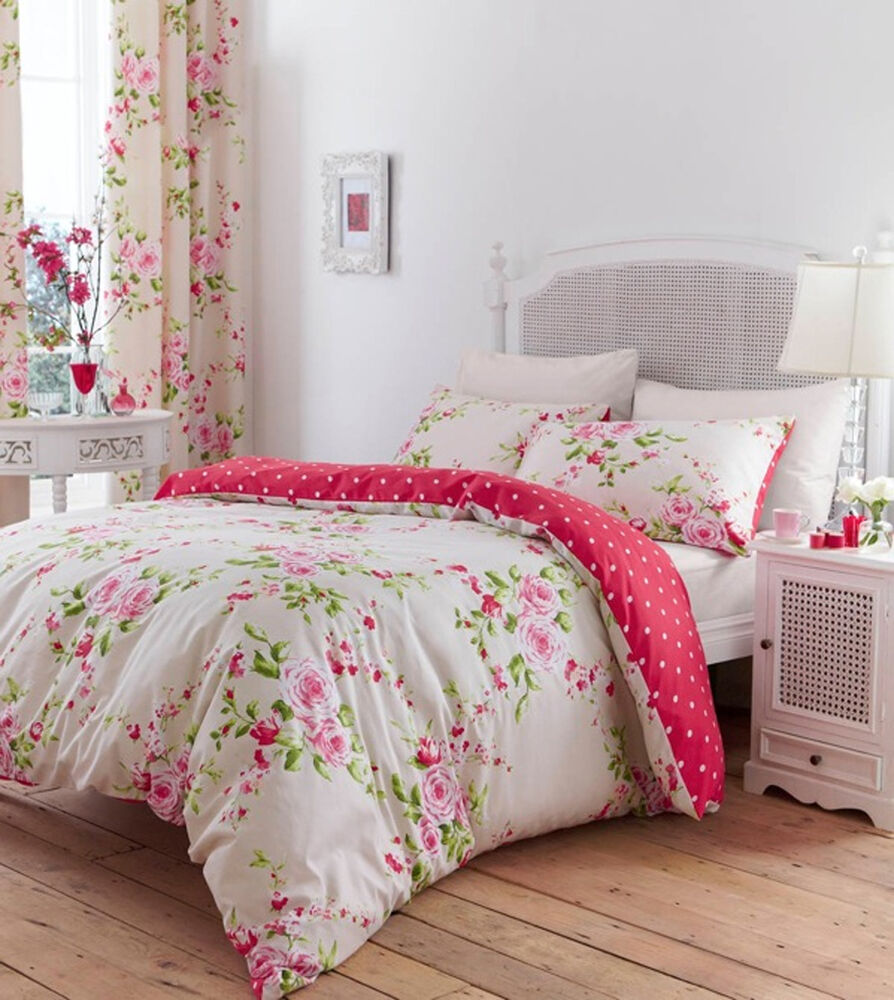 bettw sche set baumwolle einzelbett pink rot rosen blumen wendbar shabby chic ebay. Black Bedroom Furniture Sets. Home Design Ideas