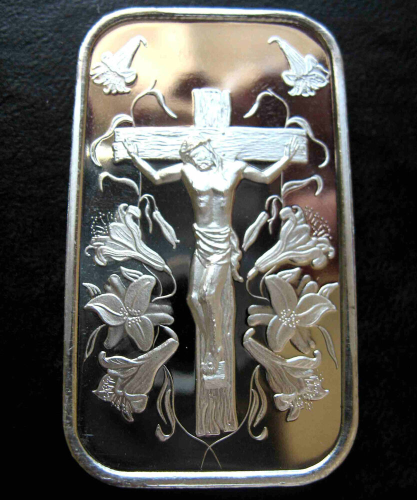1oz Jesus On The Cross 999 Pure Silver Bar New Amp Sealed