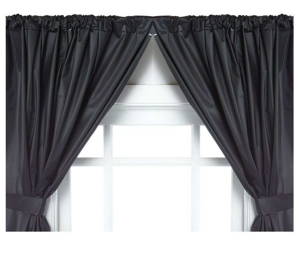 Vinyl Bathroom Window Curtain 2 Panels With Tie Backs 5 Guage Black Ebay