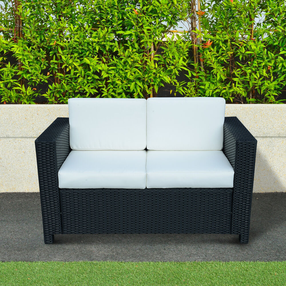Rattan Garden Furniture 2 Seater Chair Sofa Patio Conservatory Wicker Black New Ebay