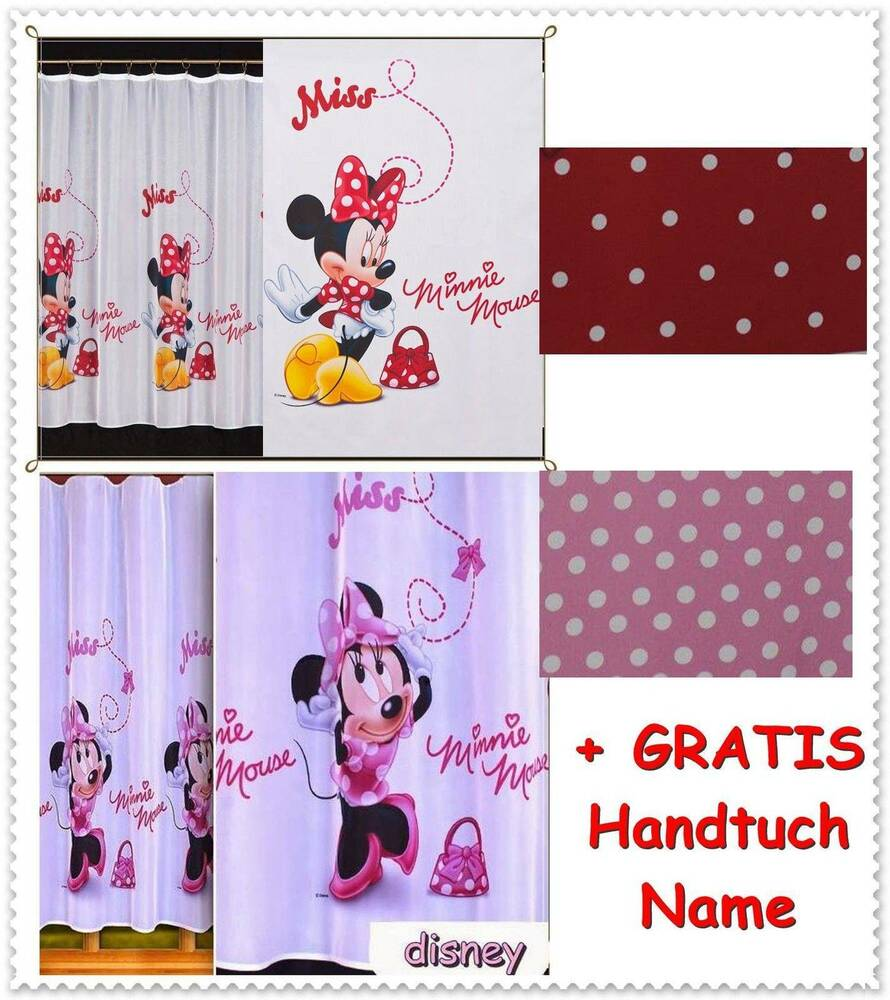 disney gardine kinderzimmer minnie maus mouse micky mickey ebay. Black Bedroom Furniture Sets. Home Design Ideas