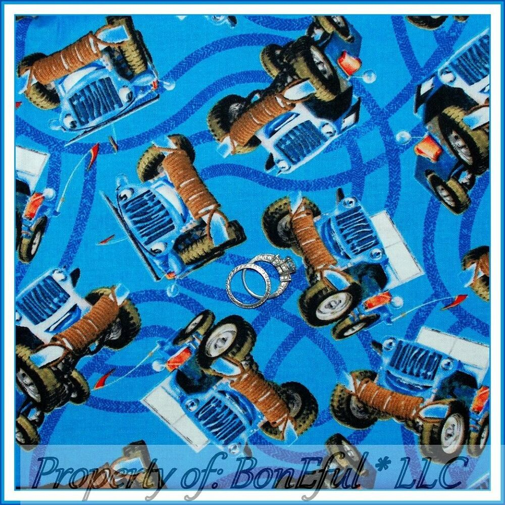 Boneful fabric fq cotton quilt blue boy big toy monster for Monster truck fabric