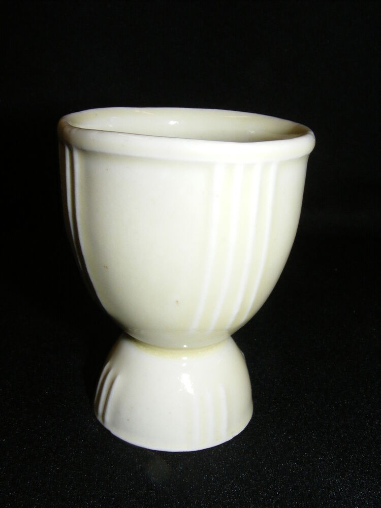 Vintage China Double Egg Cup White with Vertical Lines