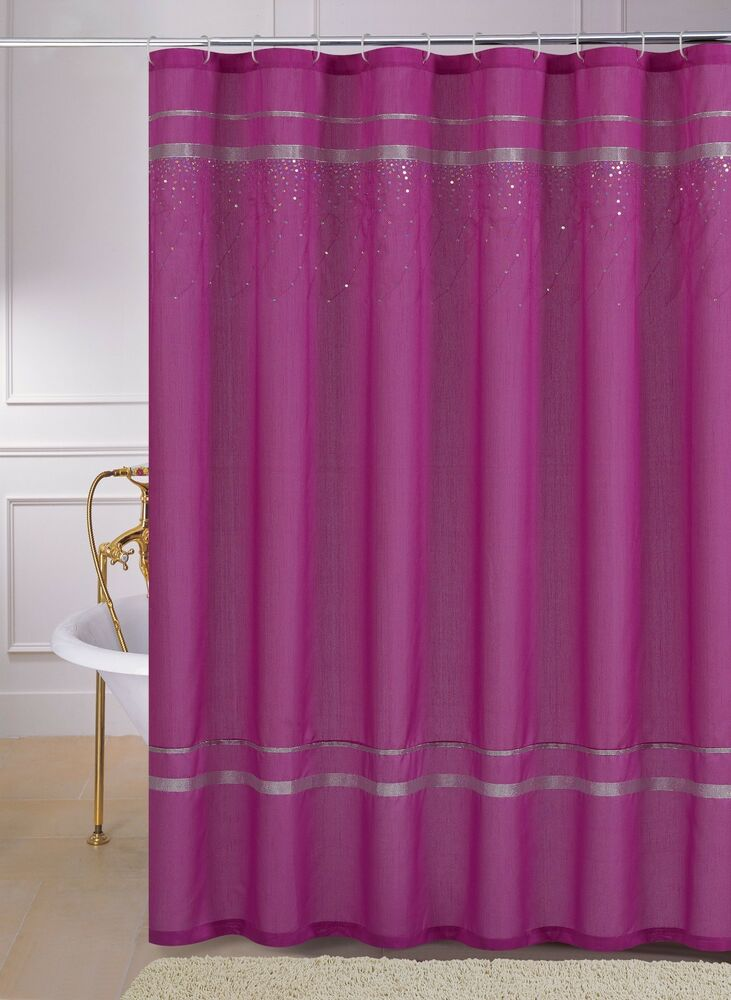 Pink Faux Silk Fabric Shower Curtain Silver Ribbon Cascading Hologram Sequins Ebay
