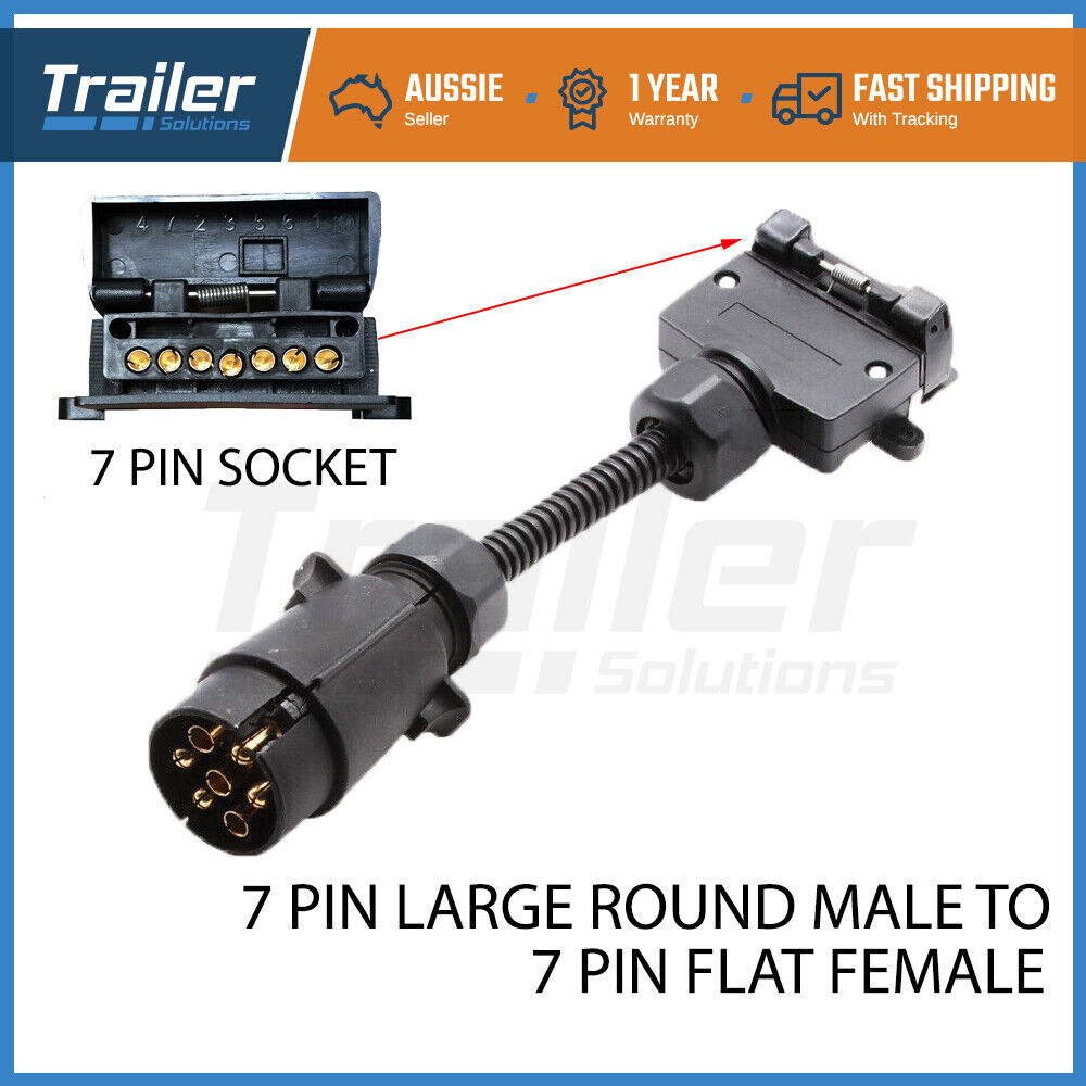 7 Pin Trailer Plug Adapter Round Male To Flat Female