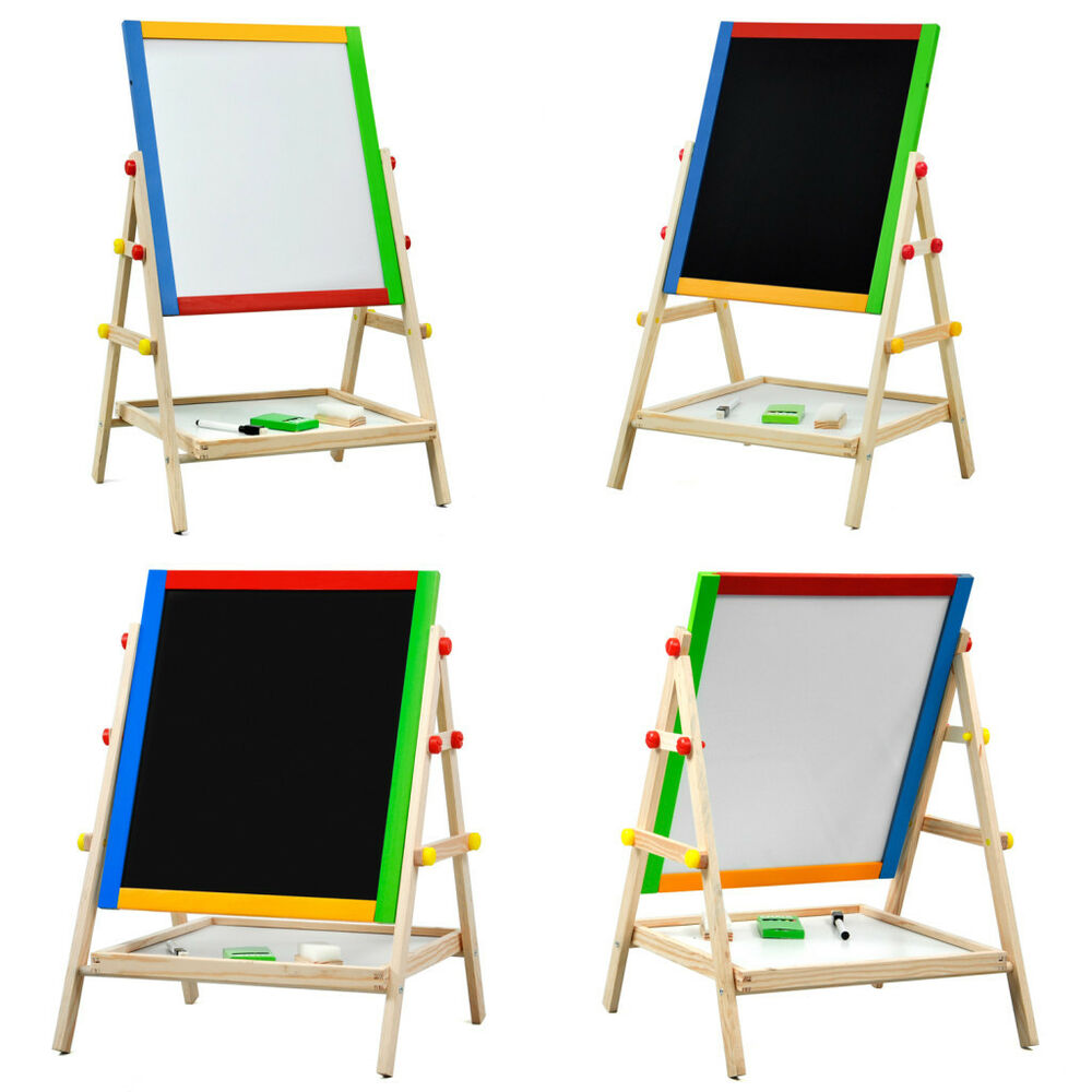 Adjustable Children Kids 2 In 1 Black White Wooden Easel