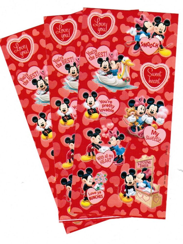 3 sheets disney mickey mouse love sweetie heart kissing scrapbook stickers ebay. Black Bedroom Furniture Sets. Home Design Ideas