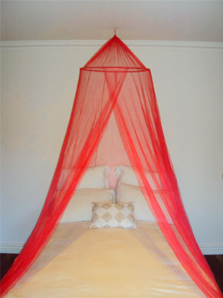 Red decorative mosquito fly canopy net bed netting for for Bed with mosquito net decoration