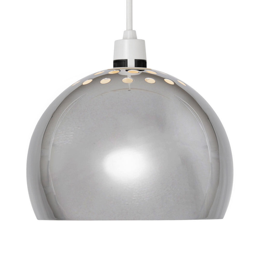 14 In Single Shade White And Silver Hanging Lamp Global: Modern Silver Chrome Arco Style Retro Dome Ceiling Pendant