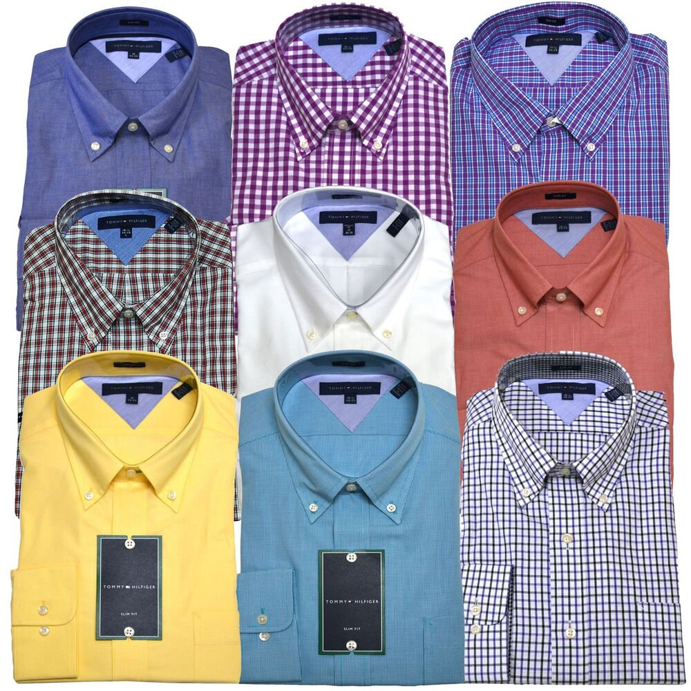 tommy hilfiger dress shirt slim fit mens buttondown collar