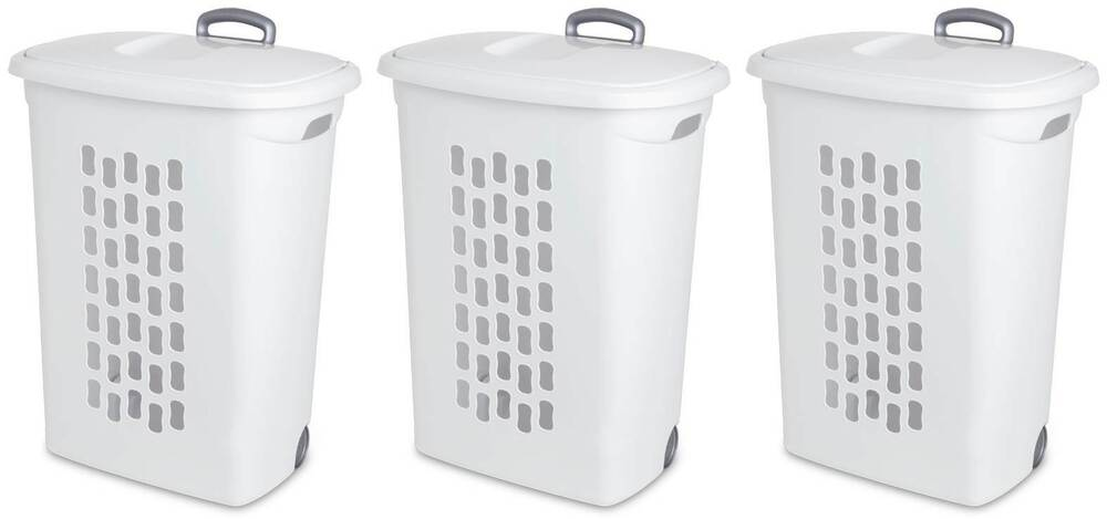 Sterilite Laundry Hampers With Lift Top Wheels Amp Pull
