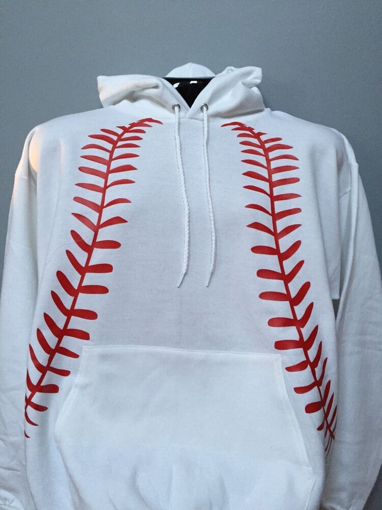 White Red Baseball Lace Graphic Hoodie Sweatshirt Laces Stitches Ebay