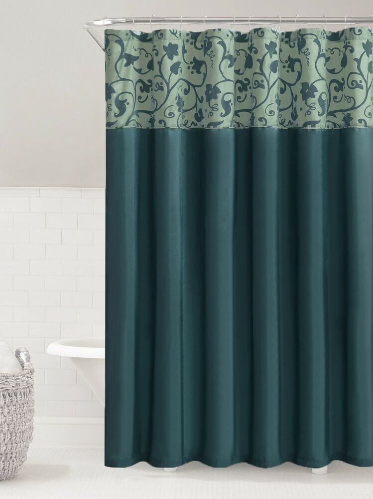 Teal Amp Steel Blue Faux Silk Fabric Shower Curtain Embossed