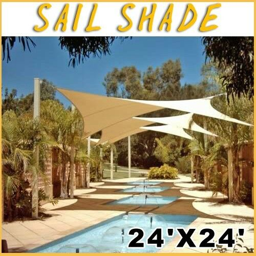 New Deluxe Sand Rectangle Square Backyard Patio Sun Sail