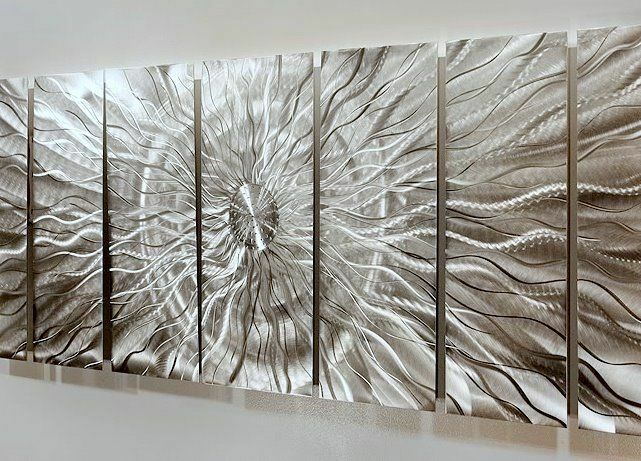 Abstract Metal Wall Art Extra Large Multiple Panel Silver ...