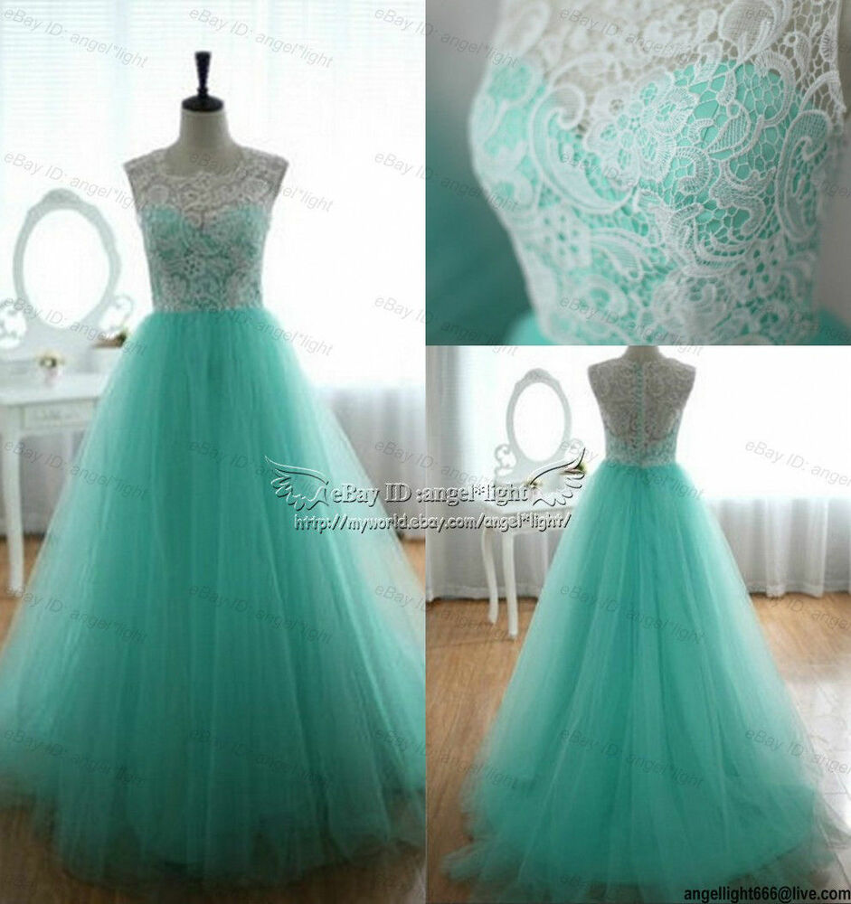 2014 new long blue white lace formal prom evening party for White and turquoise wedding dresses