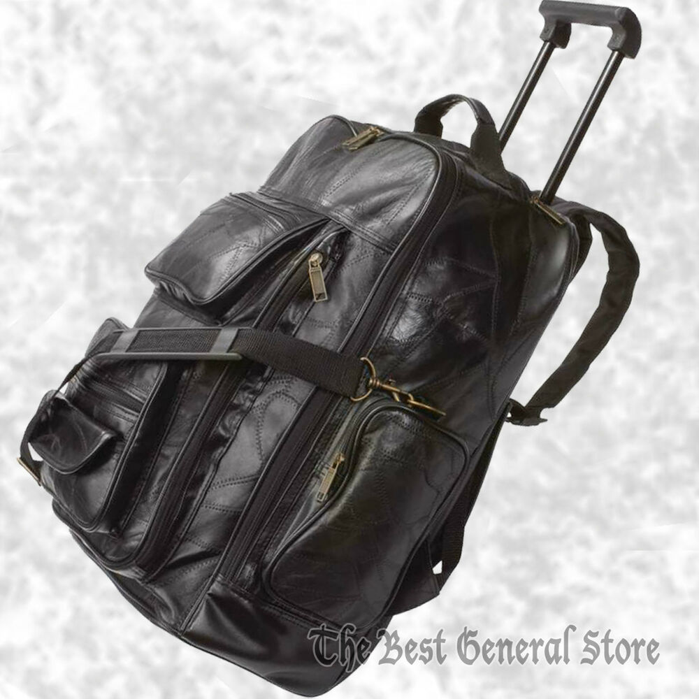19 Quot Black Leather Rolling Backpack Tote Carry On Trolley