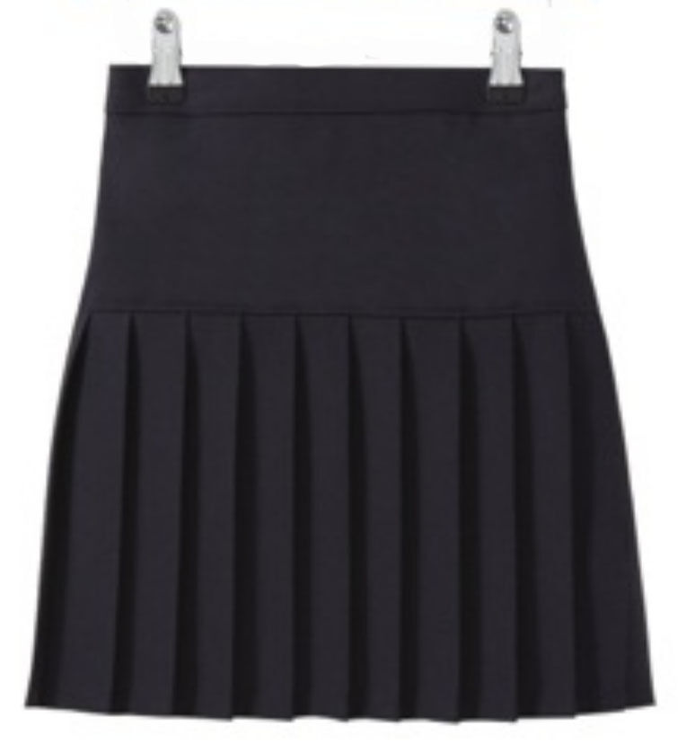 navy and grey pleated school skirt with elasticated
