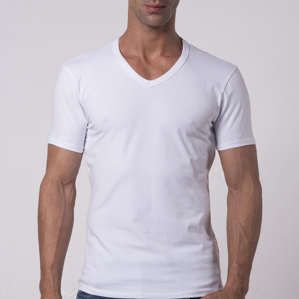 lot mens cotton v neck short sleeve t shirts body slim fit. Black Bedroom Furniture Sets. Home Design Ideas