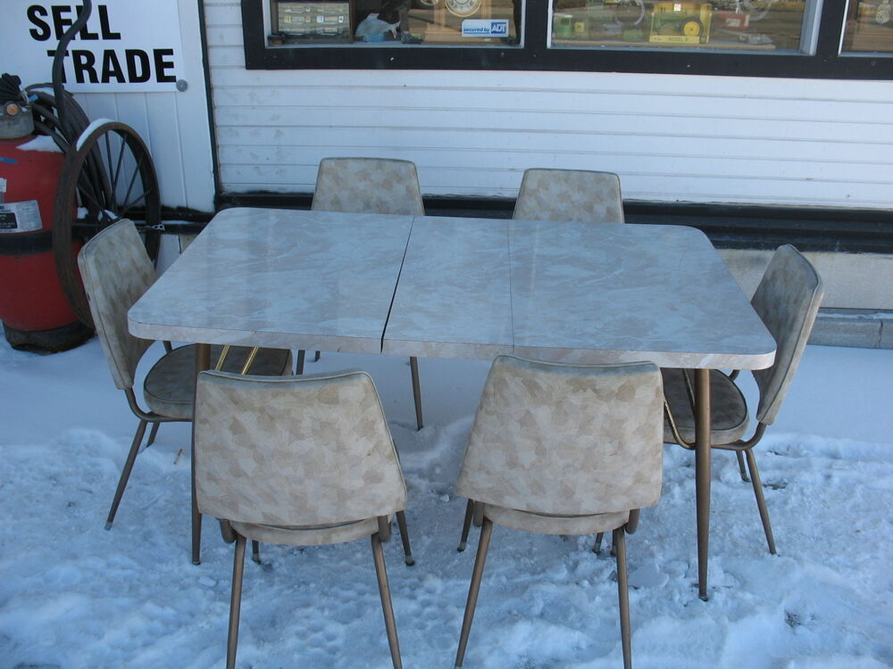 1950 39 S Queen City Art Deco Retro Vintage Dinette Kitchen Table With 6 Chairs Ebay