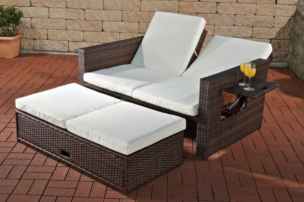 gartensofa verstellbar polyrattan braun garten outdoor. Black Bedroom Furniture Sets. Home Design Ideas