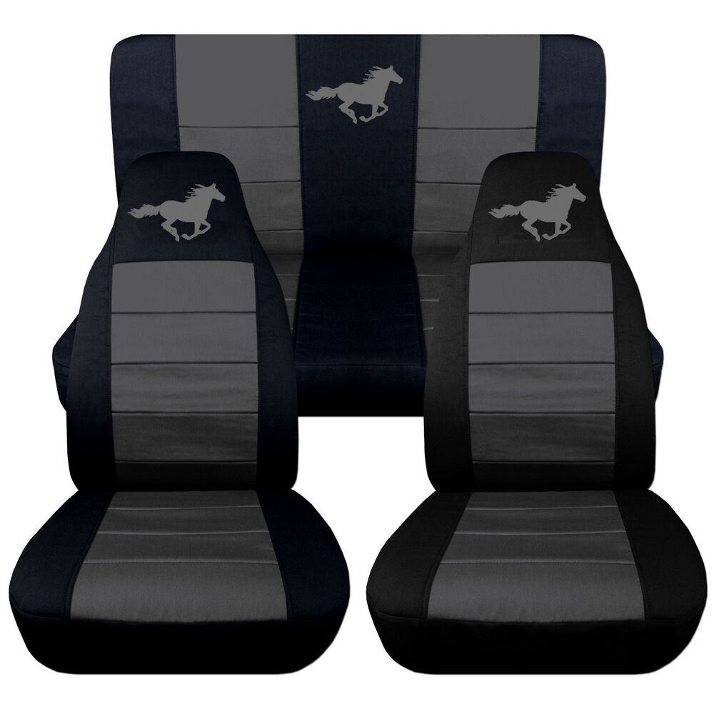 front rear black charcoal horse seat covers 1994 to 2004 ford mustang coupe ebay. Black Bedroom Furniture Sets. Home Design Ideas