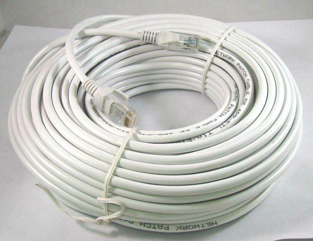 100ft 100 ft rj45 cat6 cat 6 high speed ethernet lan network white patch cable ebay. Black Bedroom Furniture Sets. Home Design Ideas
