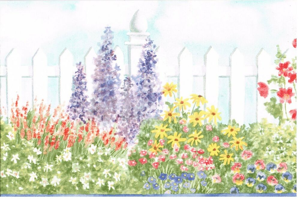 Garden Fence Flowers And Bushes With Blue Trim Wallpaper