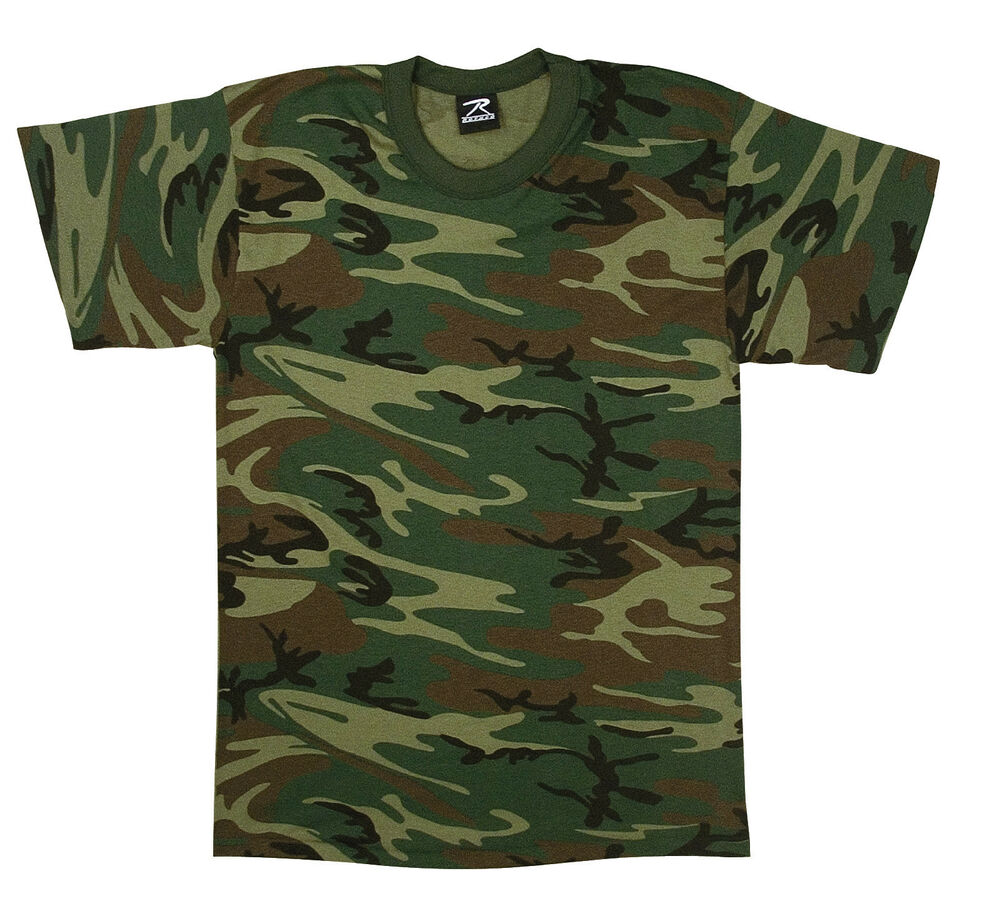 t shirt camo woodland camouflage made in the usa gsa compliant rothco 6777 ebay. Black Bedroom Furniture Sets. Home Design Ideas