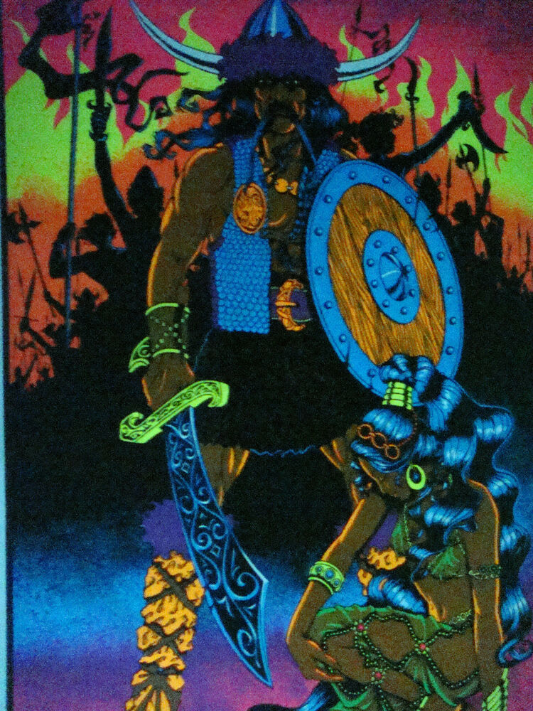 blacklight poster Conquerer 1970's vintage pin-up viking ...