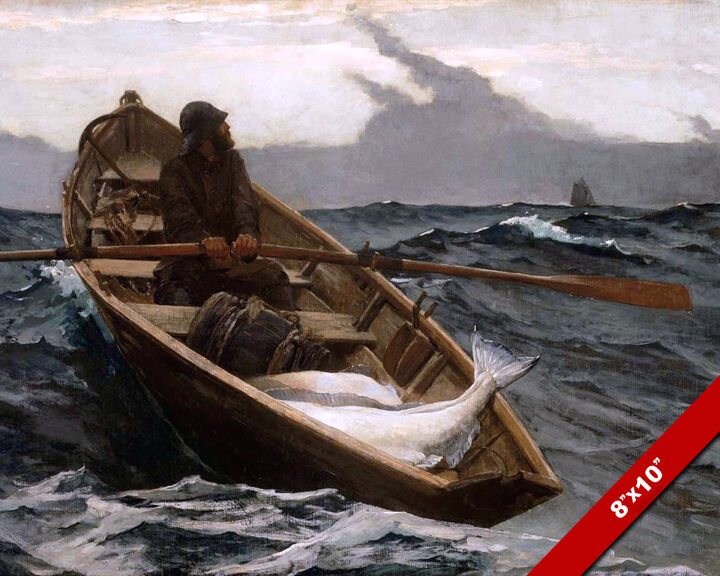Ocean man row boat sea fishing fine art painting real for Fishing row boats