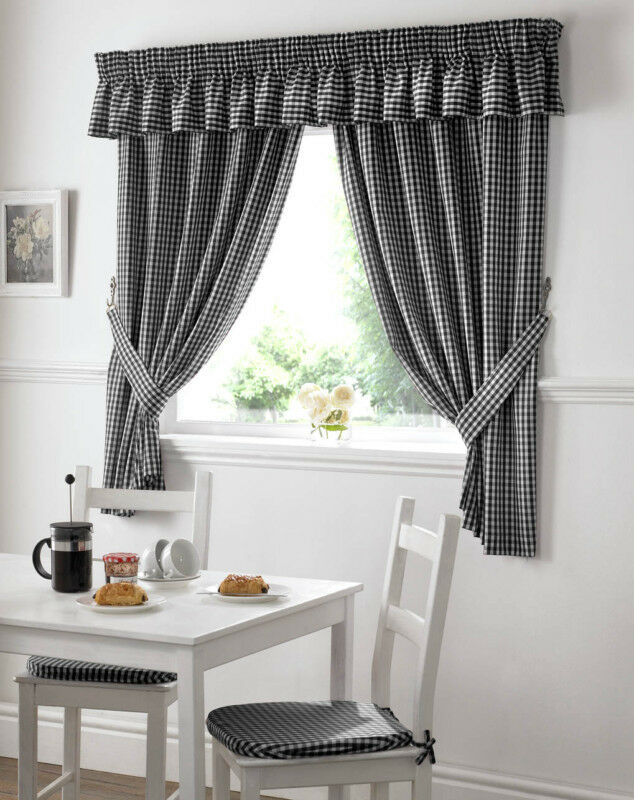 Gingham Check Black White Kitchen Curtains Drapes W46 x L48 Tiebacks ...