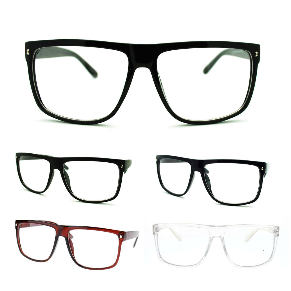 Large Rectangular Glasses Frame : Mens 80s Normcore Nerdy Geek Large Thin Plastic Frame ...