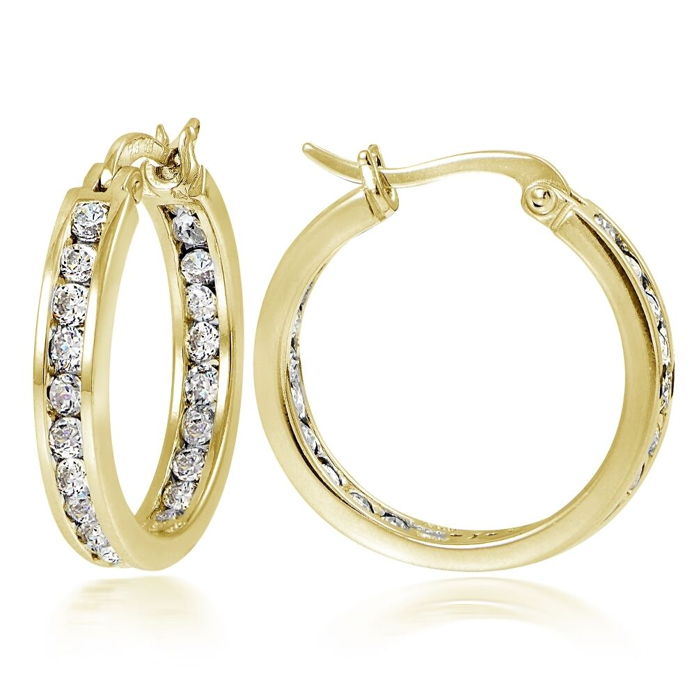 gold hoop earrings 20mm channel set cz hoop earrings in gold plated silver ebay 8978