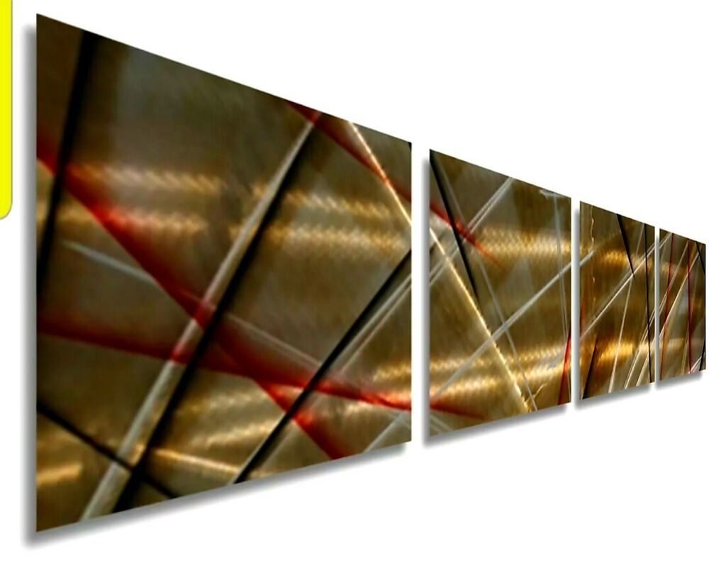 Gold Wall Home Decor : Contemporary gold abstract metal wall art home decor