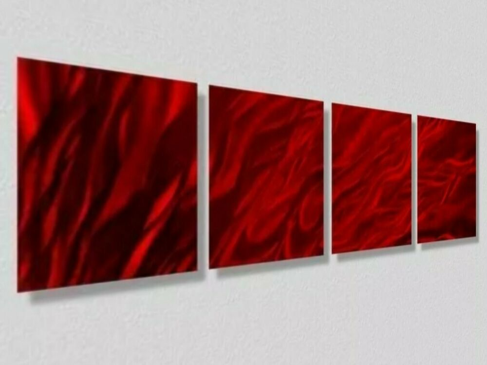 Red Metal Wall Decor: Red Accents Contemporary Abstract Metal Wall Art Home