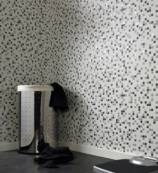 White black mosaic tile effect wallpaper embossed for Tile effect bathroom wallpaper