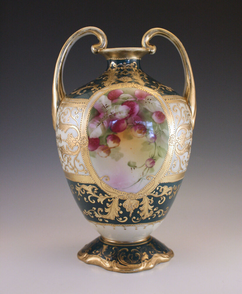 ANTIQUE NIPPON MORIAGE HANDLED VASE. HAND PAINTED, MAPLE ...