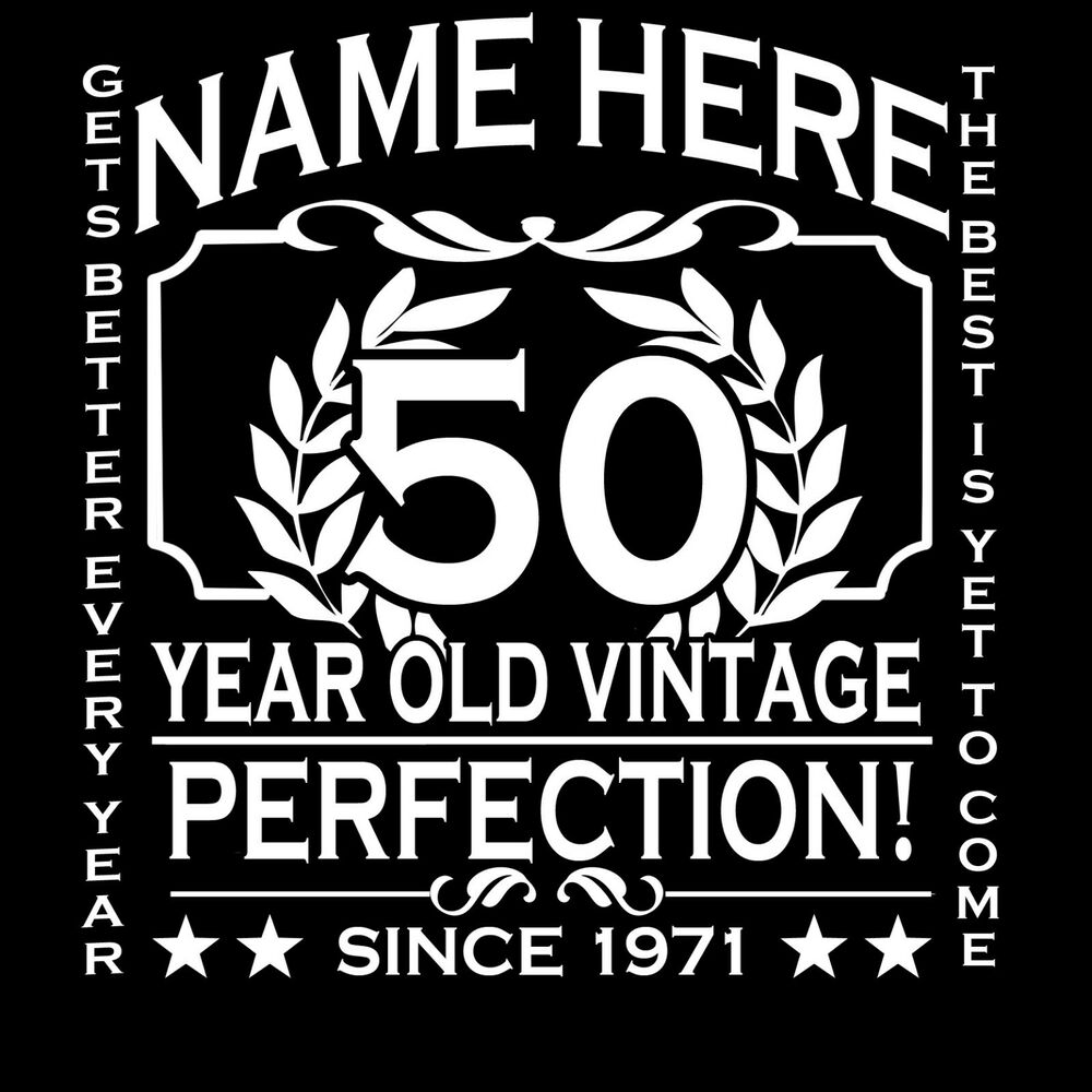 50th Birthday T-Shirt Personalise With Any Name Age Year